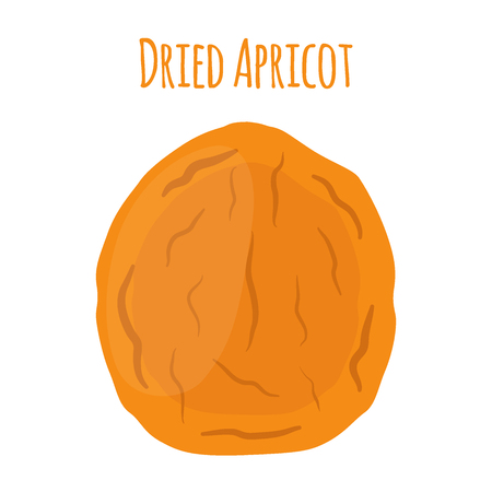 Dried apricot in cartoon flat style, vegetarian snack. Healthy organic food. Illustration