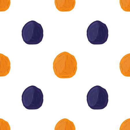 Gedroogde abrikozen en pruimen naadloze patroon in cartoon platte stijl, vegetarische snack. Gezond biologisch voedsel.