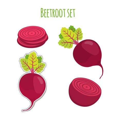 Beetroot set made in cartoon flat style. Label for markets, shops, garden vegetables. Organic nutrition. Stock fotó - 80546169