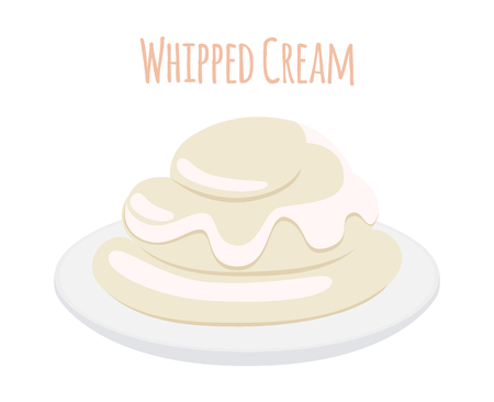 Whipped cream, milk product. Dairy food, sweet yogurt on dish. Made in cartoon flat style Illustration