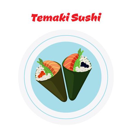 salmon dinner: Temaki on plate. Raw fish - tuna, salmon, caviar, rice and nori in sushi. Made in cartoon flat style Illustration