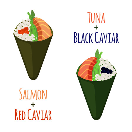 nori: Temaki tasty food set. Raw fish - tuna, salmon, caviar, rice and nori in sushi. Made in cartoon flat style Illustration