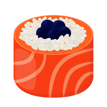Sushi roll - tasty food. Raw fish, caviar, rice and nori in sushi. Made in cartoon flat style Illustration