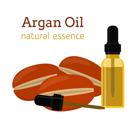 moisture: Argan natural oil. Essential oil, cosmetics, spa, aromatherapy. Liquid in a bottle. Made in cartoon flat style Illustration