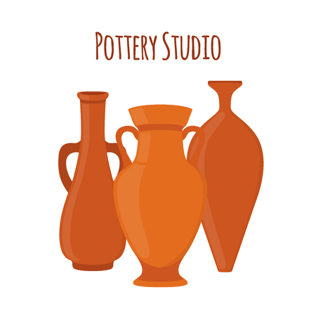 Pottery studio label with vases Illustration
