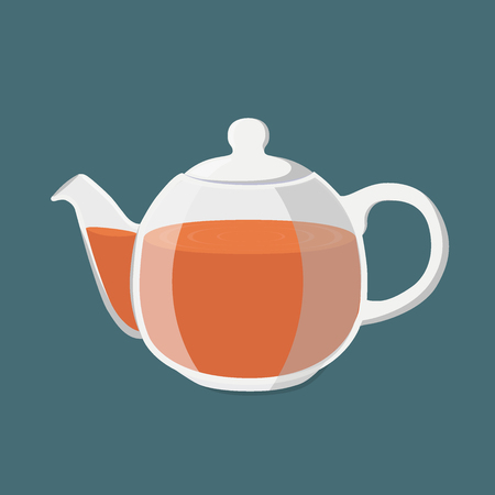 Transparent teapot with golden brown tea Vector illustration