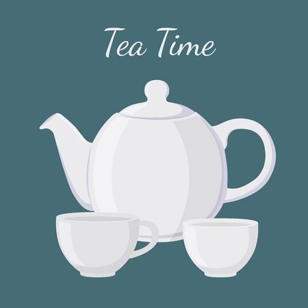 White teapot and cup in cartoon flat style. Containers for tea or coffee. Tea time. Vector illustration