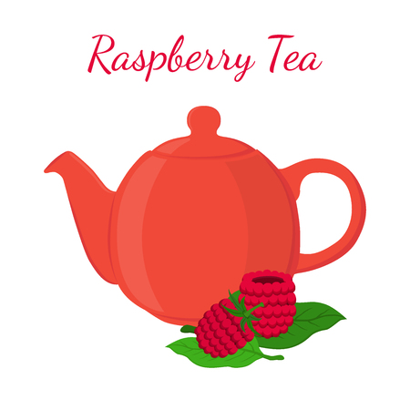 Raspberry tea in teapot with berries. Healthy organic natural fruit tea. Vector illustration. Made in cartoon flat style