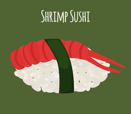 piece: Shrimp sushi - asian food with fish, rice. Traditional Japanese meal. Made in cartoon flat style. Vector illustration