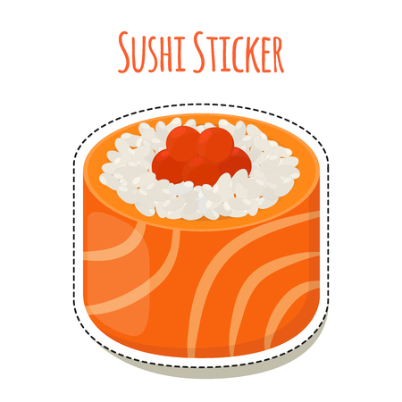 Sushi sticker, asian food with fish, rice, seaweed, caviar label. Made in cartoon flat style. Vector illustration
