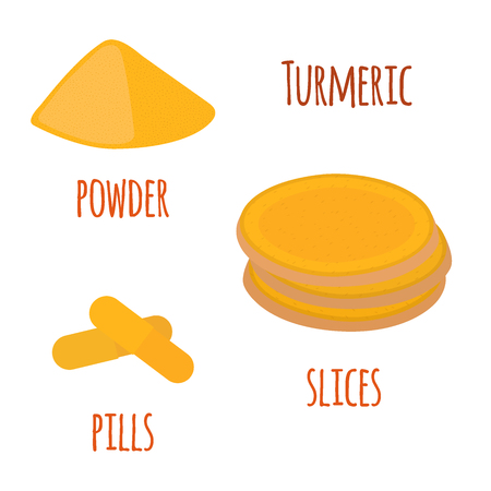 Turmeric root, organic spice, slices, powder, pills. Herbal food. Made in cartoon flat style. Vector illustration