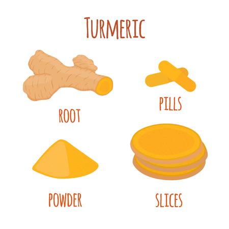 Kurkumawurzel, organisches Gewürz, Scheiben, Puder, Pillen. Kräuternahrung. Gemacht in der flachen Art der Karikatur. Vektor-Illustration Standard-Bild - 85583298