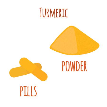 Turmeric root, organic powder and  pills illustration.