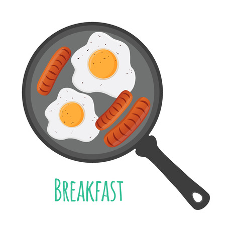 English breakfast - egg, sausages on pan. Illustration