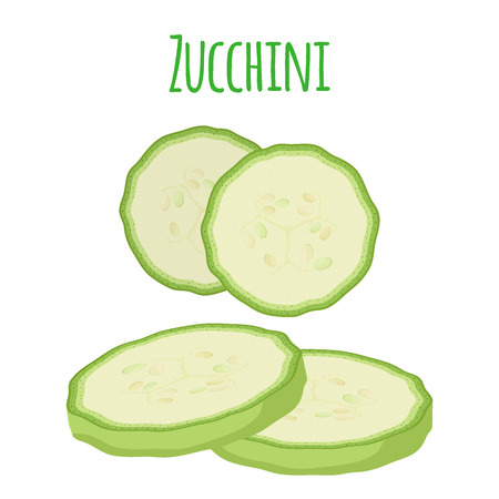 Fresh zucchini squash, vegetarian vegetable. Slices of courgette. Made in cartoon flat style. Vector illustration
