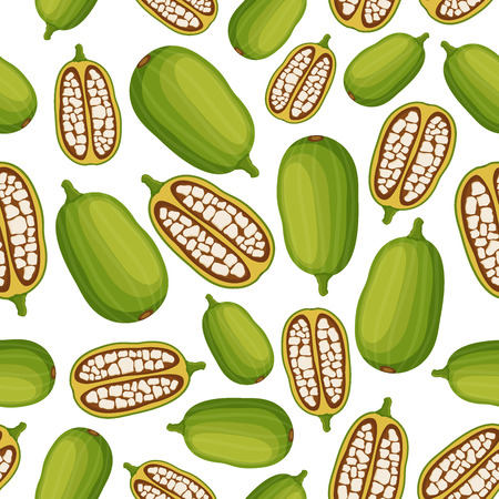 Baobab seamless pattern, organic nutrition, exotic detox fruit. Made in cartoon flat style. Vector illustration Illustration
