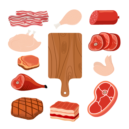 Meat set - bacon, chicken, ham, smoked pork, jamon, hamon, cutting board. Made in cartoon flat style. Vector illustration Ilustração