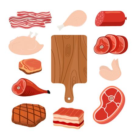 Meat set - bacon, chicken, ham, smoked pork, jamon, hamon, cutting board. Made in cartoon flat style. Vector illustration Stock Illustratie