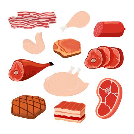 Set di carne, realizzato in stile cartone animato su sfondo bianco.