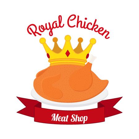 Étiquette poulet royal, logo. Poule, couronne, ruban. Fait dans le style plat de dessin animé. Illustration vectorielle Logo