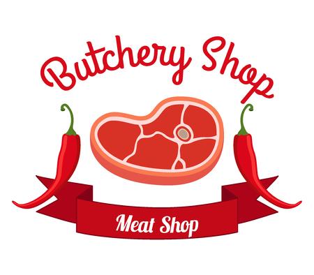 Fresh meat, pepper label, made in cartoon flat style, illustration. Illustration