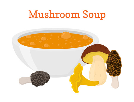 Mushroom soup, vegetable vegetarian food, organic product. Hot meal. Made in cartoon flat style. Vector illustration