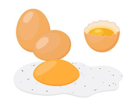 raw chicken: Fried egg cartoon flat style illustration.