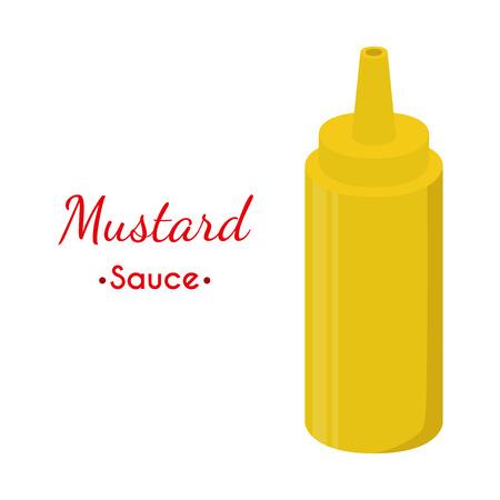 ketchup bottle: Mustard sauce bottle, yellow spicy condiment. Made in cartoon flat style. Vector illustration Illustration