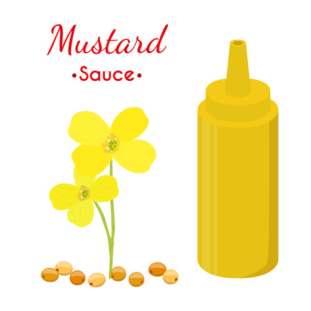 Mustard sauce bottle, yellow spicy condiment. Made in cartoon flat style. Illustration