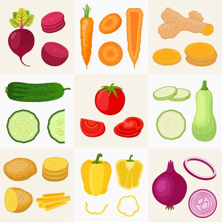 Conjunto grande de verduras. Pepino, tomate, patata, zanahoria, cúrcuma, pimiento, calabacín, cebolla, remolacha. Hecho en estilo plano de dibujos animados. Ilustración vectorial Vectores
