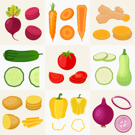 Vegetables big set. Cucumber, tomato, potato, carrot, turmeric, pepper, zucchini, onion, beetroot. Made in cartoon flat style. Vector illustration