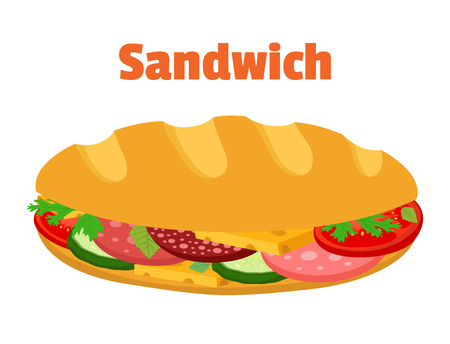 Sandwich, breakfast fast food, bread with ham, cheese, vegetables. Made in cartoon flat style. Illustration