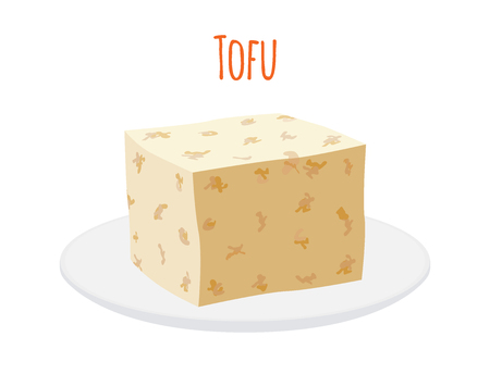 Tofu on plate, organic soy product. Made in cartoon flat style illustration. Фото со стока - 92257877