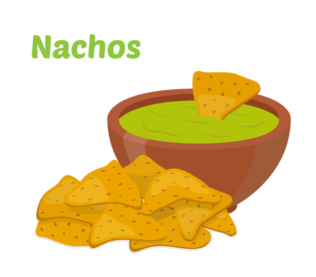 Nachos mexican chips, spicy fast food with sauce salsa. Made in cartoon flat style. Vector illustration Illustration