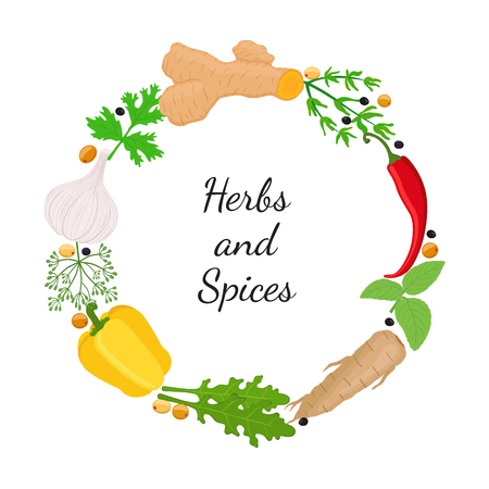 Herbs and spices leaves set. Made in cartoon flat style illustration. Banque d'images - 92257878