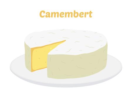 Bloc de fromage camembert sur l'icône de vecteur de plaque. Trancher, morceau sur un plateau en porcelaine dans un style plat de dessin animé. Produit du marché agricole pour étiquette, affiche, icône, emballage, produit laitier. Vecteurs