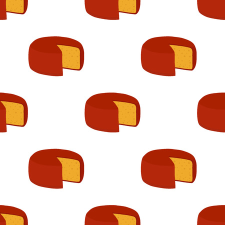 Gouda cheese seamless pattern. Illustration