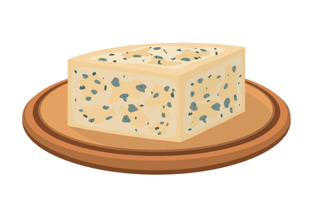 Vector gorgonzola, Italian blue cheese on wooden plate, made from unskimmed cows milk. Made in cartoon flat style for internet, design Illustration