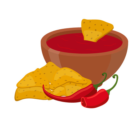 Vector mexican food - nachos, traditional chips with spicy sauce, hot chili pepper. Made in cartoon flat style