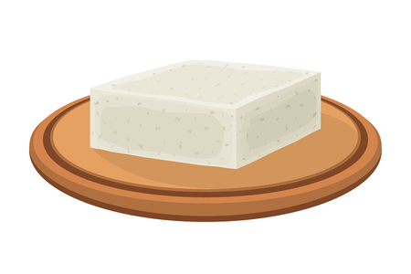 Vector feta cheese block on plate. Slice, chunk on wooden tray in cartoon flat style. Farm market product for label, poster, icon, packaging. Dairy product  イラスト・ベクター素材