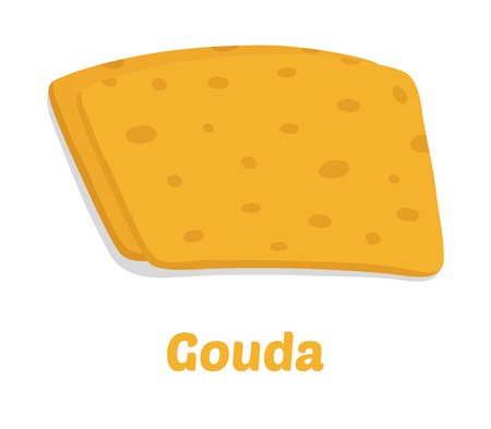 Vector gouda cheese pieces. Slice, chunk in cartoon flat style. Farm market product for label, poster, icon, packaging. Dairy product