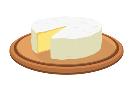 Vector camembert cheese block on plate. Slice, chunk on wooden tray in cartoon flat style. Farm market product for label, poster, icon, packaging. Dairy product