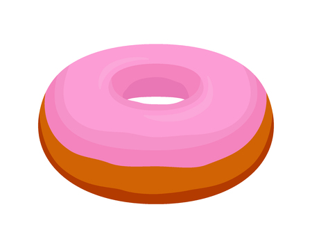 Tasty donut with pink glaze. Pastry, cake with icing, sugar, cream. Made in cartoon flat style.