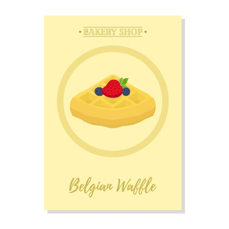 Set of pastry poster, banner for sale of belgian waffle. Promotion, advertising illustration. Made in cartoon flat style Illustration