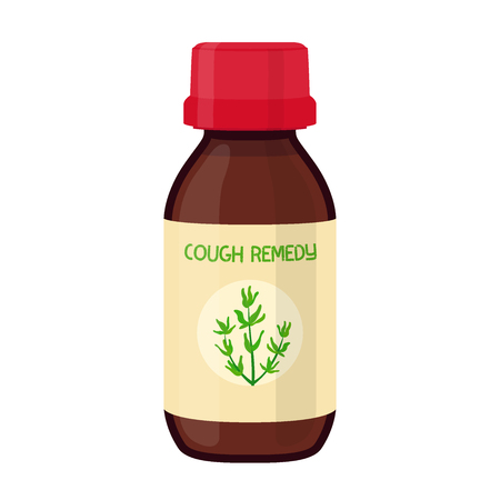 Vector illustration of bottle with herbal cough remedy, herbal medicine. Treatment of flu, illness, disease. Made in cartoon flat style Vectores