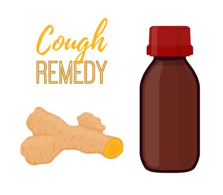 Vector illustration of bottle with cough remedy with curcuma, turmeric liquid. Medicine, treatment of flu, illness, disease. Made in cartoon flat style
