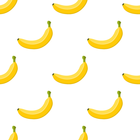 Vector seamless pattern of banana, tropical yellow fruit. Exotic plant. Bunch of healthy organic food, made in cartoon flat style.