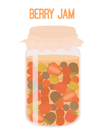 Vector berries jam in mason jar, canned. Berry in plastic, glass bottle, container. Cartoon flat style