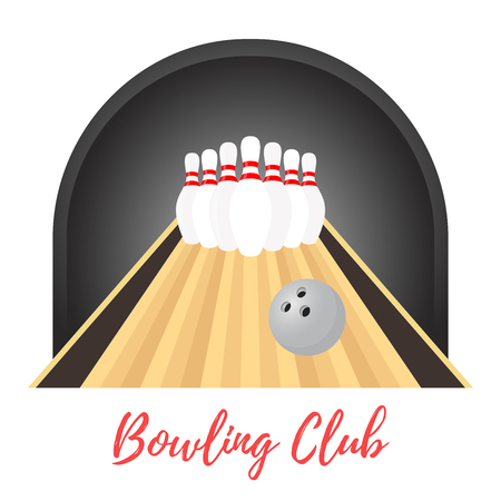 Vector ad poster, promo banner of bowling championship, competition. Template with sport equipment - skittles, ball. Hobby, recreation. Made in cartoon flat style