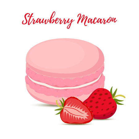 Vector strawberry macaron with meringue cream. Sweet french confectionery with berry. Delicious pastry. Made in cartoon flat style